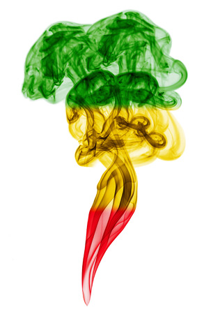 reggae: Fumée pilier coloré en drapeau de la musique reggae Banque d'images