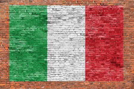 italian fresco: Flag of Italy painted over aged brick wall
