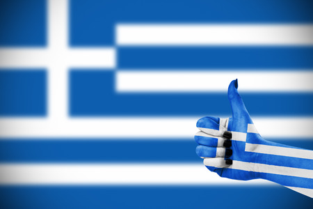 grecian: Flag of Greece on females hand Stock Photo