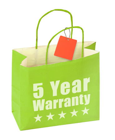 surety: paper bag with five year warranty inscription on white background