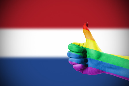 gay pride rainbow: Concept photo - Positive attitude of LGBT community for Netherlands Stock Photo