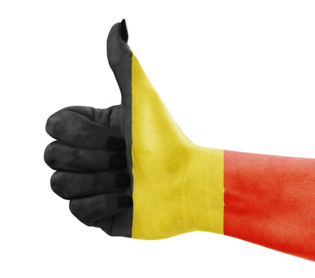 thumbup: Flag of Belgium on females hand Stock Photo