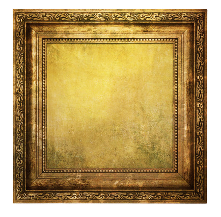 yellowed: Yellowed wooden frame isolated on white background Stock Photo