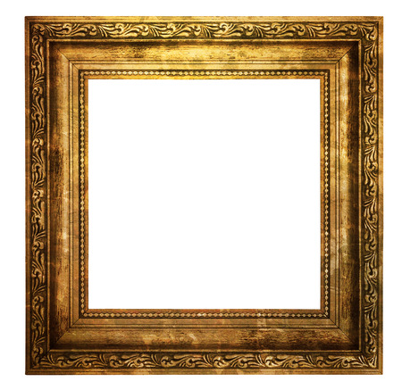 vintage: Hollow wooden frame isolated on pure white background