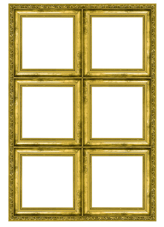 large gold picture frames giant golden frame containing six quadrats isolated on white background stock