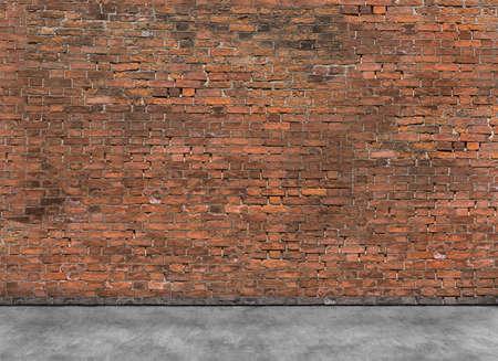 Alte leere Backsteinmauer mit einem Teil der Vordergrund Lizenzfreie Bilder