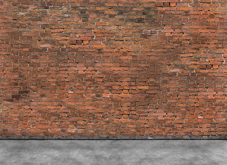 exterior wall: Old empty brick wall with part of foreground