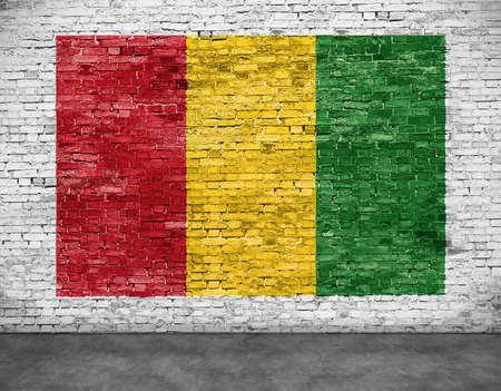 reggae: Drapeau Reggae peinte sur le mur de briques blanches