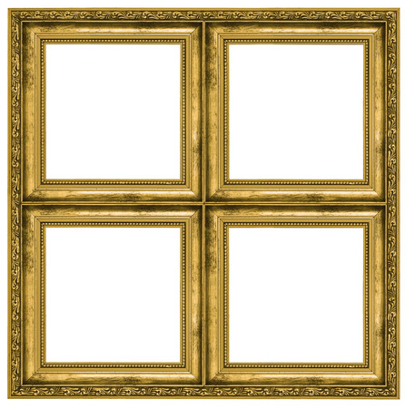 symetry: Golden quadruple frame isolated on pure white background