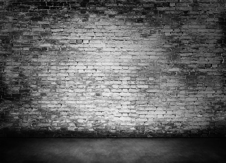 moody background: white murky brick wall texture with foreground Stock Photo