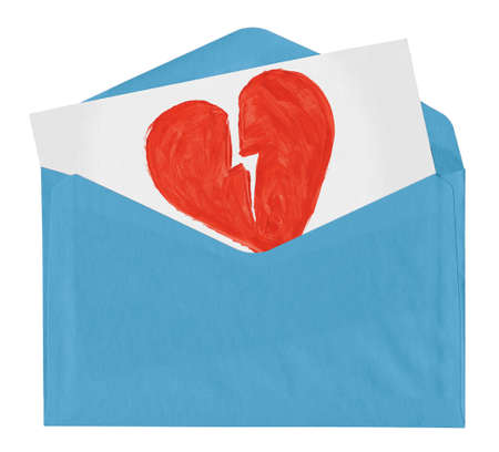 broken heart: envelope with symbol of broken love isolated on white background