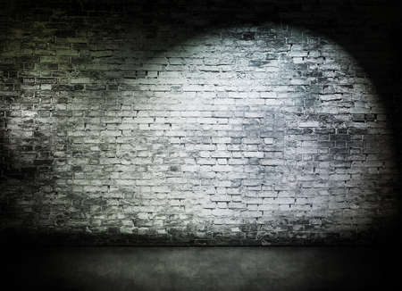 ancient brick wall: Spot light on old white brick wall