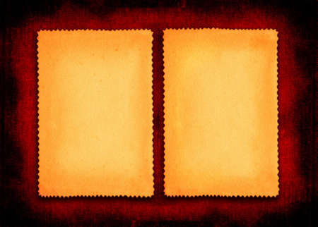 yellowed: two pieces of yellowed paper on red textile background