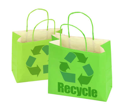 paperbag: two shopping bags with recycle symbol on white  Stock Photo