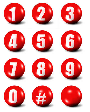 numbers clipart: collection of numbers - red 3D spheres  Stock Photo