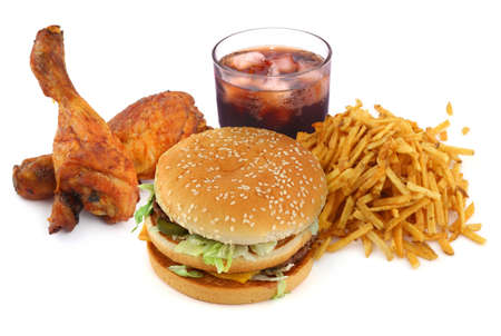 calorie: fastfood collectie over op witte achtergrond Stockfoto