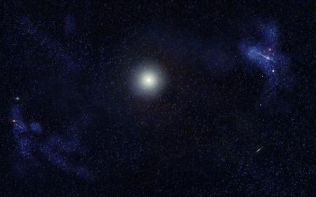 starfield: Digital created starfield with big star