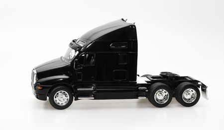 isolated black truck with chromeplated details