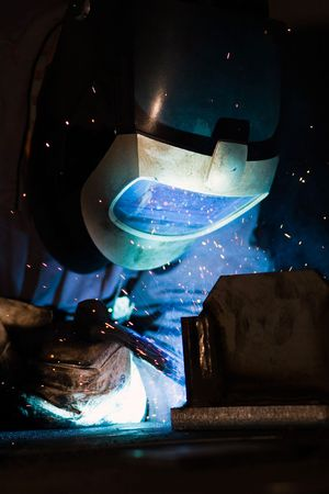 irradiation: Welder at work. Welding not rusting became Stock Photo