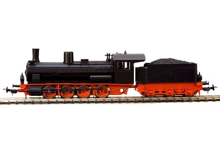 exhalation: steam loco model isolated over white background Stock Photo