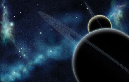 Digital created starfield with cosmic Nebula and two planets wiht rings