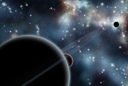 starfield: Digital created starfield with cosmic Nebula and planets Stock Photo