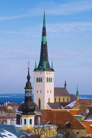 view on old church in center of old Tallinn  Stock Photo