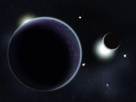 starfield: Digital created starfield with cosmic Nebula and planet Stock Photo