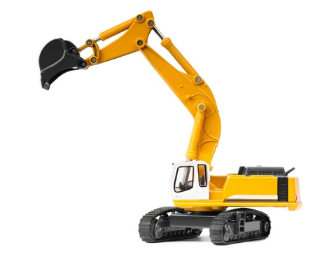 toy heavy excavator isolated over white background photo