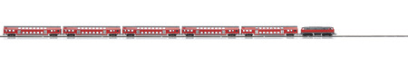intercity: loco model with red passenger express wagons isolated over white background Stock Photo