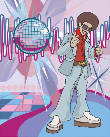discoteque: a 70s funky guy giving a thumb up