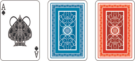 Ace and matching back from deck of playing cards Vector