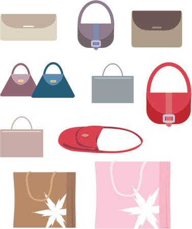 kiválasztás: A selection of hand and shopping bags. Illusztráció