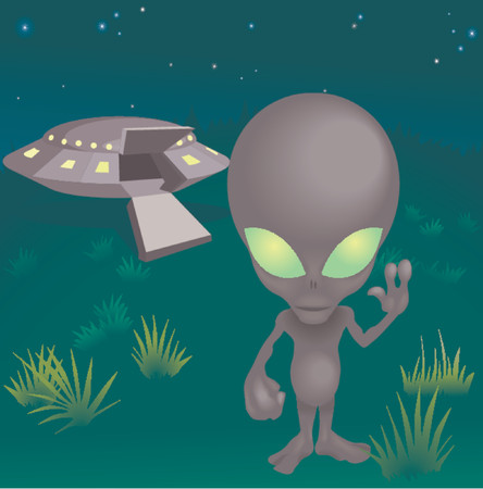 a little alien and his flying saucer! Vector