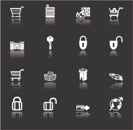 security and e-commerce icon set series Vector