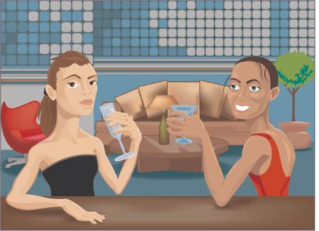 night club interior:  two beautiful women at a bar. Illustration