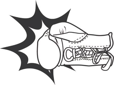 impacts: Una ilustraci�n del vector de un guante de boxeo que entrega un sacador con el impacto del soplo acentuado. Vectores