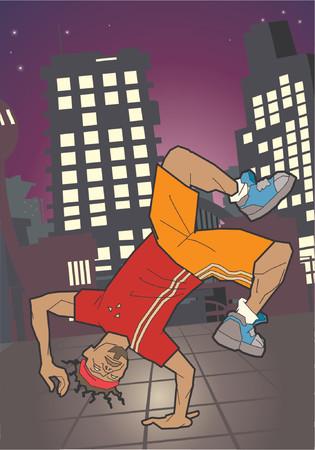 hip hop dancer: a breakdancer breakdancing Illustration