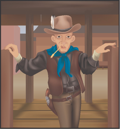 saloon:  A cowboy coming through some swing doors. Clothing and gun make extensive use of gradient meshs.