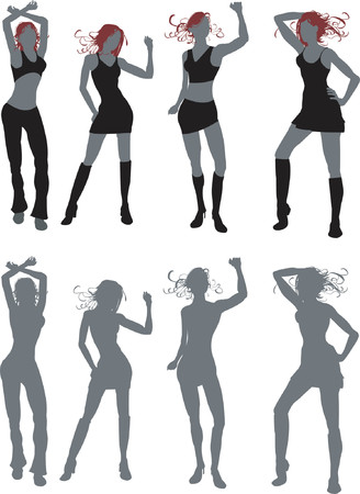 great work:  Illusrtations of four young women dancing, work great in silhouette or in simple colours. Both included