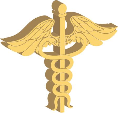 aesculapius: 3d caduceus medical symbol