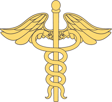 rod sign:  caduceus medical symbol Illustration