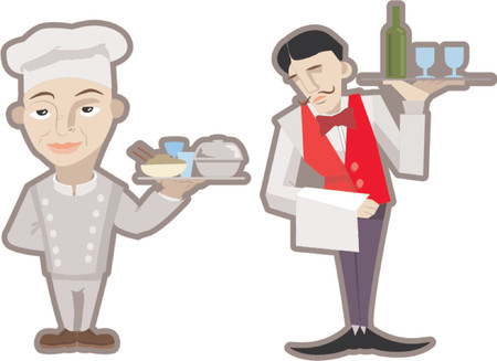 stir: A vector waiter and chef.