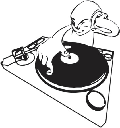 A a funky dj mixing. Vector