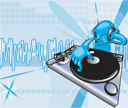 flier:  A funky dj mixing with background on separate layer. No meshes used, all blends or gradients. Illustration