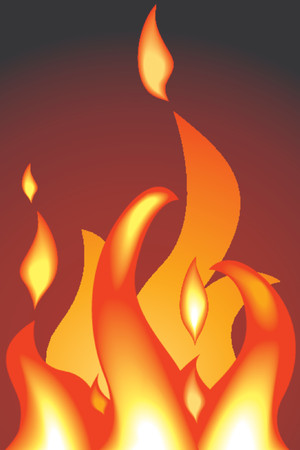 shading: a fire or flames. Shading by blends, no meshes used. Illustration