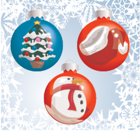 Christmas baubles with pictures of a Santa hat, snowman, and Christmas tree reflected or painted on them! Shading by blends, no meshes used. Vector