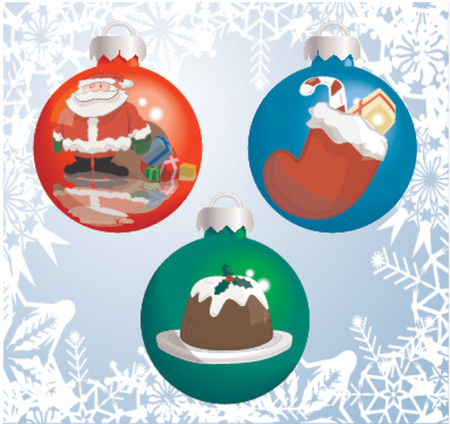 Christmas baubles with pictures of Santa Claus, Christmas stocking, and Christmas pudding reflected or painted on them! Shading by blends, no meshes used. Vector