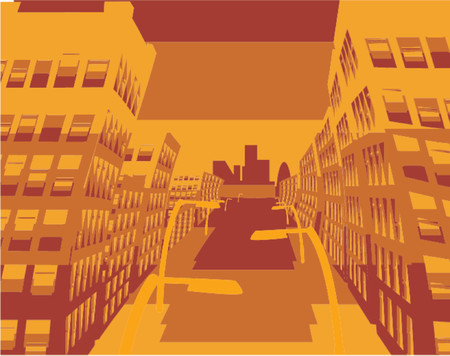 flier: an abstract illustration of a city street