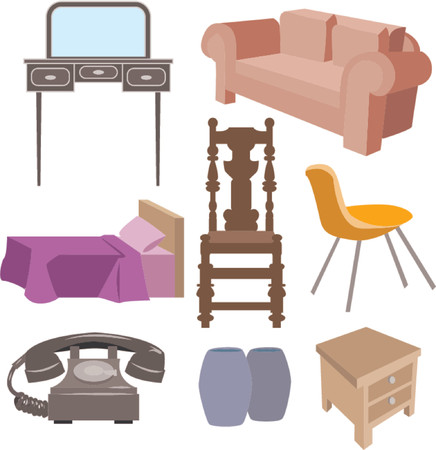 A selection of furniture Vector